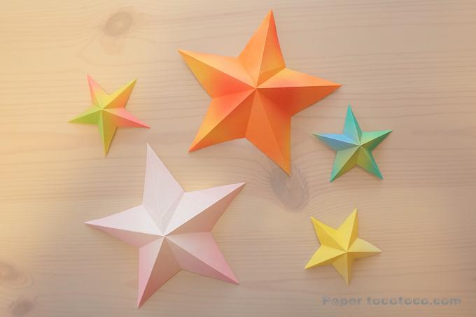 折り紙☆3D星の折り方☆簡単!ハサミで1カットで立体星