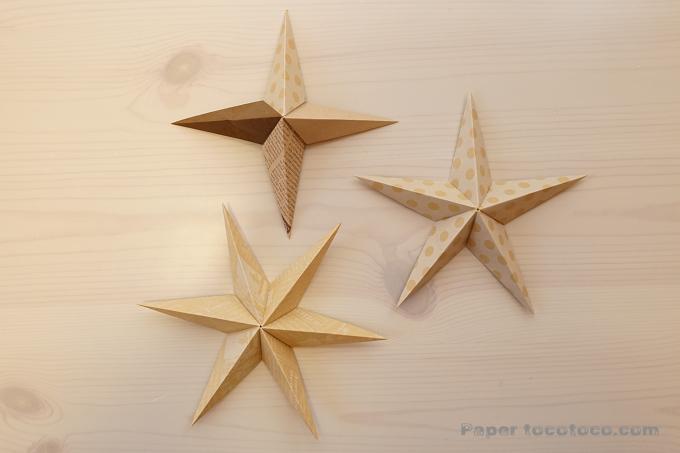 折り紙☆3D星の折り方☆簡単!ユニットで四角、五角、六角の立体星