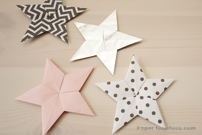 折り紙☆星の折り方☆とっても簡単!5枚組ユニットの2D星