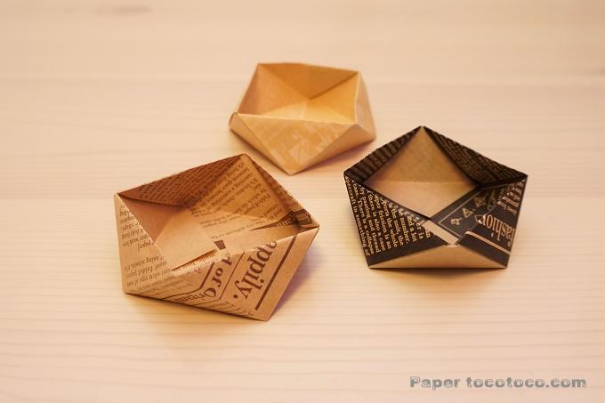 折り紙☆角鉢2の折り方☆簡単!使える小物入れ