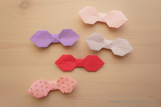 折り紙☆リボンの折り方☆簡単かわいい!木の葉型リボン