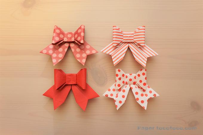 折り紙☆立体的なリボンの折り方☆簡単かわいい!3Dリボン