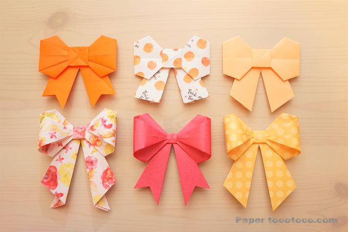 折り紙☆立体的なリボンの折り方☆アレンジ自在な3Dリボン