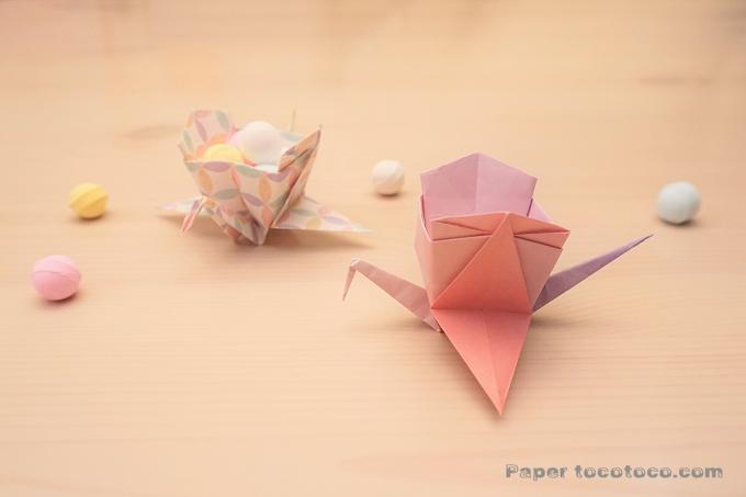 折り紙☆箱鶴の折り方☆簡単!かわいい鶴の小物入れ