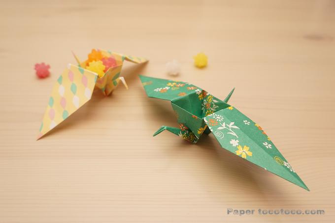 折り紙☆箱鶴の折り方☆大きな羽根が素敵な鶴の小物入れ