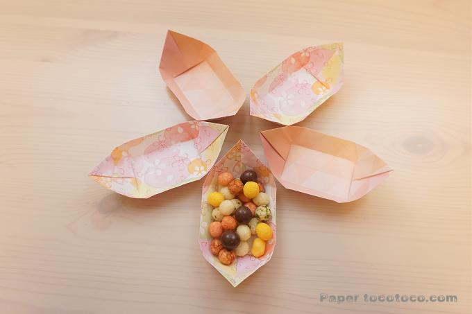 折り紙☆花びら小皿の折り方☆5つで桜のお花に!簡単かわいい使えるお皿